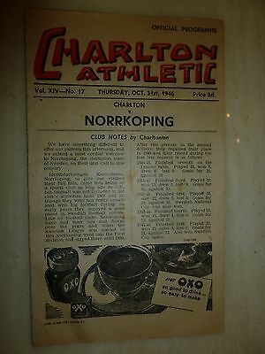 1946/47 Friendly Match - CHARLTON ATHLETIC v NORRKOPING - 31st October