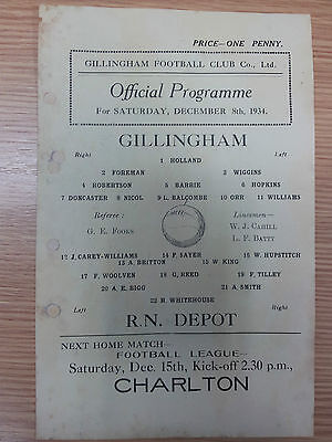 1934/35 Kent League GILLINGHAM v ROYAL NAVY DEPOT