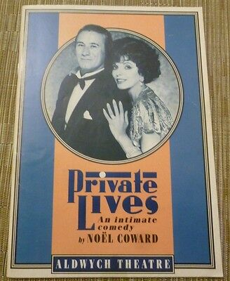 1990 Theatre Programme  PRIVATE LIVES - Joan Collins Keith Baxter Sara Crowe