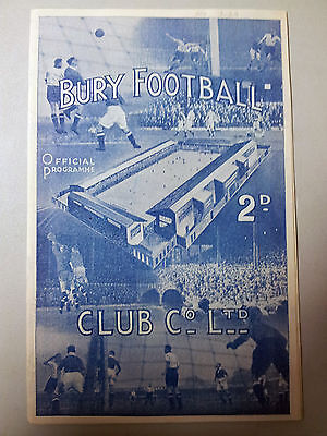 1938/39 Football Programme; BURY v WEST BROMWICH ALBION (26 November 1938)