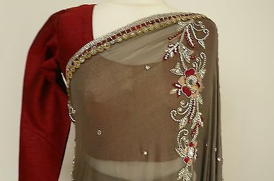 "grey + 38"" blouse  ready pleated  bollywood Indian SARI lengha SA13673"