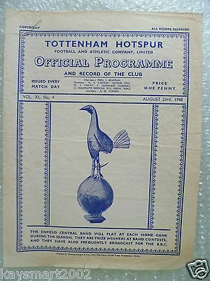1948 TOTTENHAM HOTSPUR Res. v LEICESTER CITY Res. 23 Aug Single Sheet Programme