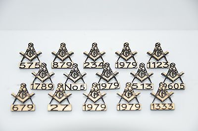 15 x MASONIC PERSONALISED LAPEL BADGES WITH YOUR OWN LODGE NUMBER WITH WITHOUT G