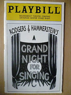 1993 PlayBill Roundabout Theatre:RODGERS & HAMMERSTEIN'S A GRAND NIGHT FOR SING