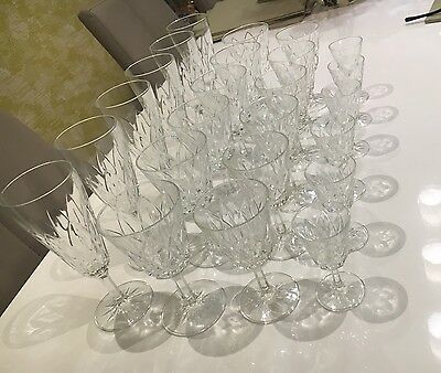 Set of 24, Vintage Cut Glass, Wine/champagne, And Cherry Glasses