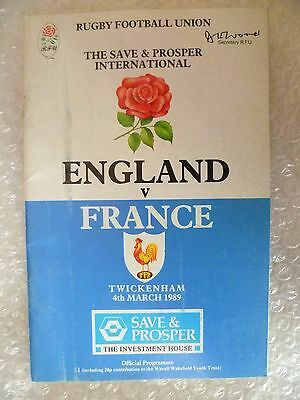 1989 Rugby Programme ENGLAND v FRANCE, 4th March