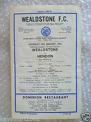 1966 WEALDSTONE v HENDON Isthmain League Senior Section, 29th Jan