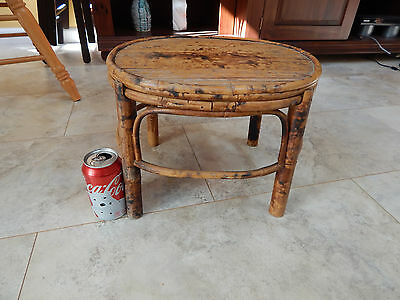 Vtg plant stand foot stool Bamboo Rattan wicker flamed pegs torched mid century
