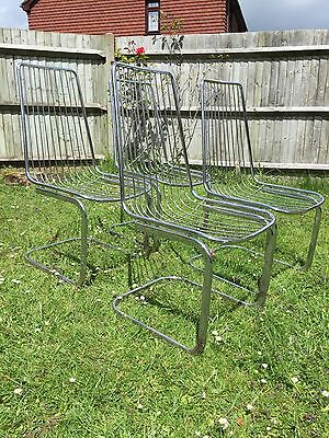 Vintage Retro Mid Century Chrome Cantilever Dining Chairs - Eames Era Set of 4