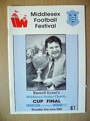 1988 Russell Grant's Middlesex Senior Charity CUP FINAL-Hendon v Wembley(Exc,Org