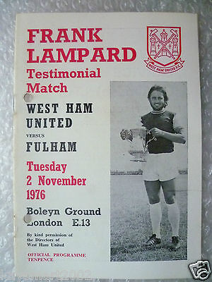 1976 Frank Lampard Testimonial Match WEST HAM UNITED v FULHAM, 2 Nov