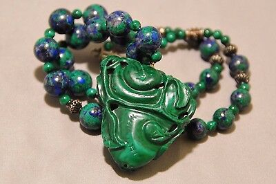 Vintage Chinese Carved Natural Malachite Lapis Beaded Pendant Necklace