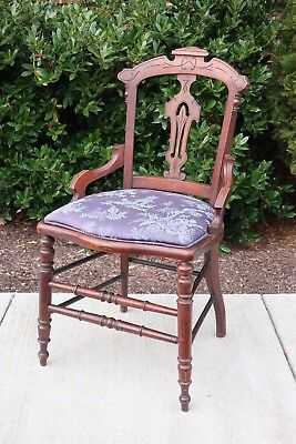 Antique Carved Wood Hall Chair Blue Chinoiserie Upholstery Eastlake Victorian