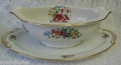 DRESDON Wentworth China Gravy/Sauce Boat w/Attached Underplate~Japan~Mint