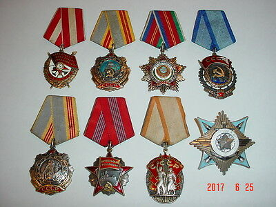 Lot 8 Soviet Russian Order Military Badges Original Wwii Sterling Numbered Exc