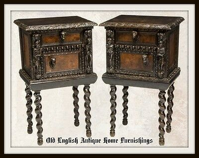 (2) Beautifully Carved Italian Baroque Style Figural Bedside Cabinets