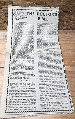 Vintage Religious Pamphlet/Newspaper Cutting/Retro/The Doctors Bible