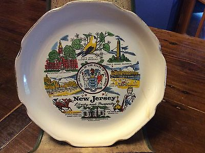 """Vintage 9"""" New Jersey State Liberty and Prosperity Souvenir Collectors Plate"""