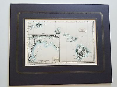 "Lahaina Printsellers Reproduction Of 1779 ""Chart Of The Sandwich Islands"" NR"