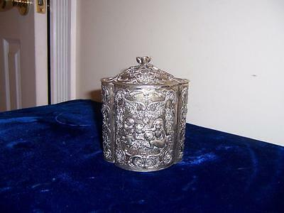 19c GERMAN 800 SILVER REPOUSSE CHERUBS ANGELS TEA CADDY GOLD WASH LINING