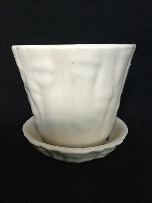 VINTAGE McCOY / BRUSH WHITE BAMBOO FLOWER POT PLANTER - GREAT COLOR & SMALL SIZE