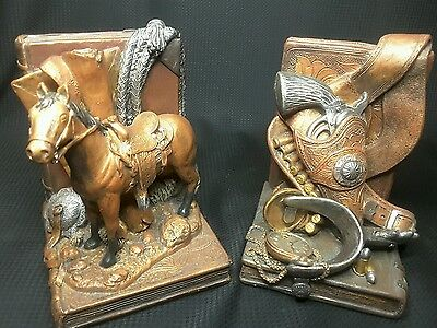 """""""Western Heritage"""" by Figi Graphics Book Ends Hand Painted, Hand Cast, Non Skid"""