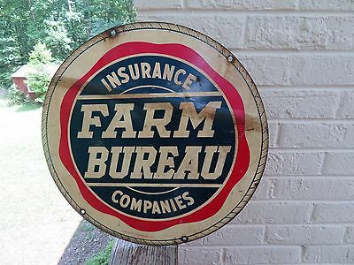 "Vintage Double Sided 18"" INSURANCE FARM BUREAU COMPANIES Metal Advertising Sign"