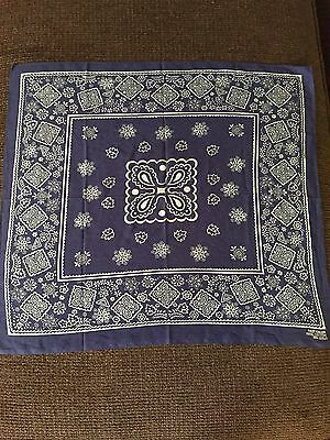 VTG BLUE RARE Handkerchief Bandana Fast Color Leaves  Butterfly RN13960 Selvage