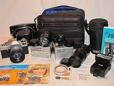 Vintage Praktica LB2 - 35mm Camera, Lenses, Flash Unit and More