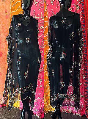 Vintage 70s India Silk Floral Dress Beaded  Embroidered Caftan Hippie Festival