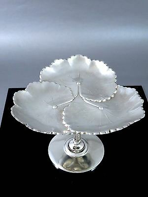 Vintage REED & BARTON Silverplate Triple Lily Pad CALLING CARD PEDESTAL TRAY