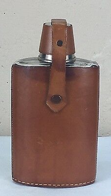 Betrix California Leather Cased Glass Flask With Shot Glass