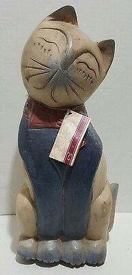"""Hallmark Wooden Hand Carved Painted Cat Statue Heavy 13"""" tall  Rare Htf"""