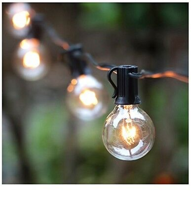 50ft Globe String Lights Clear Bulbs, Indoor/outdoor Patio Backyard Decor