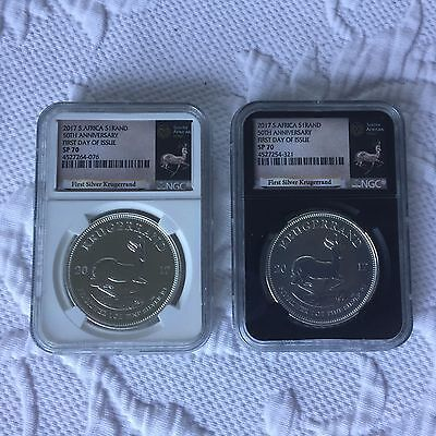2- 2017 South Africa Silver Krugerrand Ngc Sp70 First Day Issue 50Th Anniversary