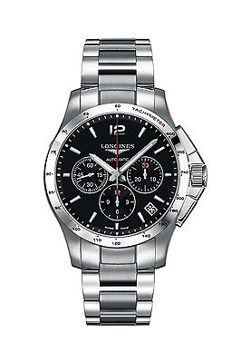 LONGINES Conquest Automatic Chronograph Black Dial Stainless Steel Men's Watch