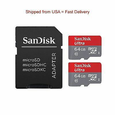 Brand New SanDisk Ultra 2 x 64GB microSDXC UHS-I Card with 1 Adapter Best Deal