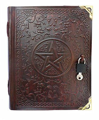 OpenBox QualityArt Pentacle Lock Leather Journal Leather Artist Notebook Diary S