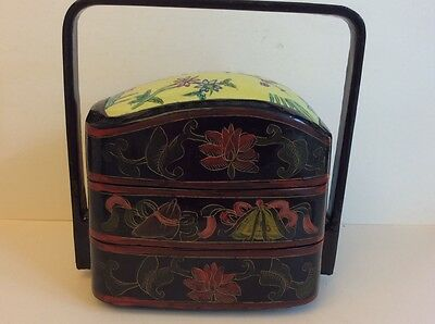Antique Chinese Black Lacque Wedding Basket w/Porcelain Insert,circa 1880