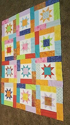 HANDMADE LUCKY STAR  QUILT TOP VIBRANT  COLORS     (unfinished)