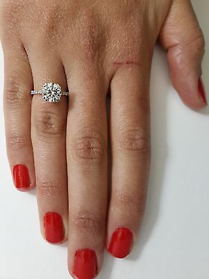 2.15 Ct Round Cut D/vs Diamond Solitaire Engagement Ring 14K White Gold