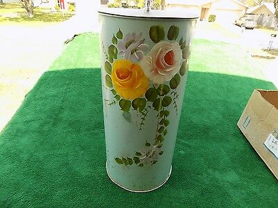 Vintage Metal Clothes Hamper With Hand Painted Flowers & Top With Glass Knob