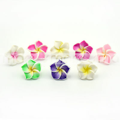 10/50pcs Mixed Color Flower Design Polymer Clay Loose Beads 9x15mm