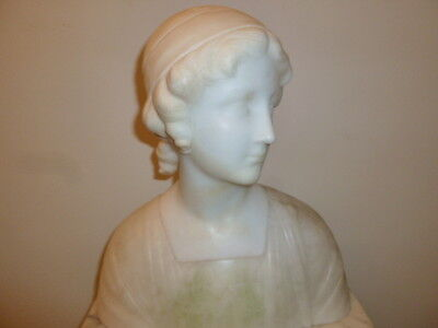 Large Art Deco Italian alabaster marble woman bust sculpture circa 1920