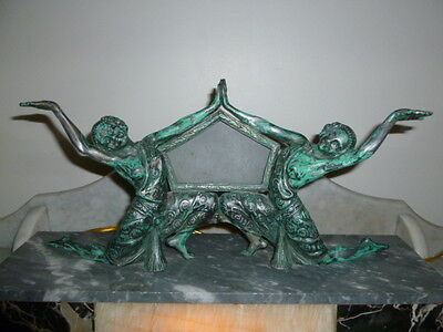 French large Art Deco onyx spelter verdigris figural nude dancing lady lamp 1920