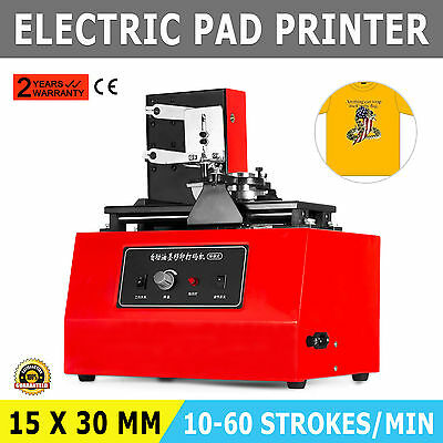 ELECTRIC PAD PRINTER PRINTING MACHINE T-SHIRT PVC MUG 15x33MM PLATE INKPRINT