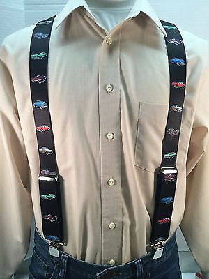"New, Men's, Cars on Black, 1.5"", XL, Adj. Suspenders / Braces, Made in USA"