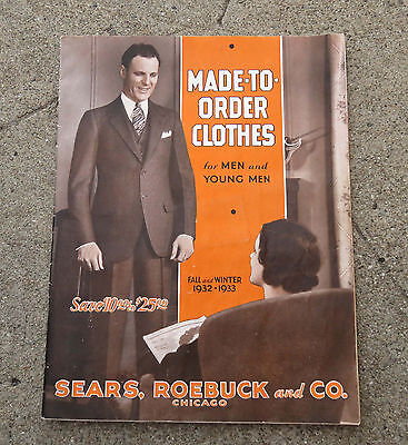 Vtg 1932 Fall Winter Sears Men's Made to Order Clothes Suits  Catalog / Booklet