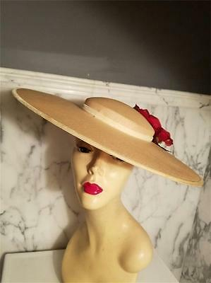 Vintage 1920-30's Platter Tilt wide brim straw hat millinery flower & leaves