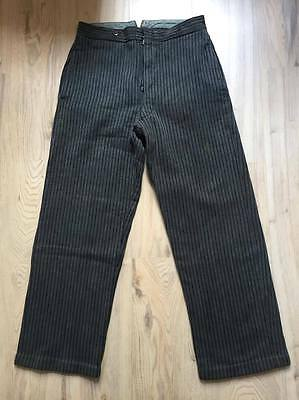 1910's French Workwear Striped Pants, Size 31/32